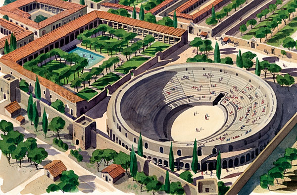 Crowd control in an ancient Roman colosseusm